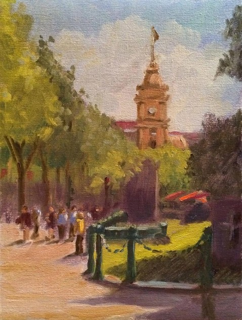 Looking for artwork online in Australia? View A Fine Day in Melbourne City - Streetscape artwork by Lucille Tam