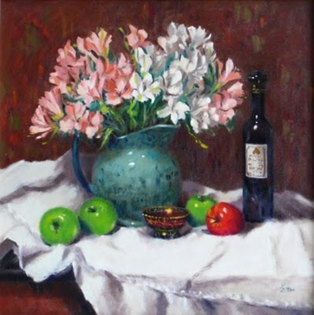 Looking for artwork online in Australia? View Alstroemerias - Still Life original artwork by Lucille Tam