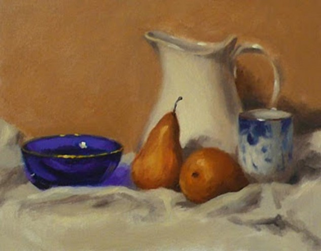 Looking for artwork online in Australia? View Beurre Bosc Pears and Blue Glass Bowl - Still Life original artwork by Lucille Tam