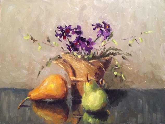 Beurre Bosc and Packham, still life by Lucille Tam