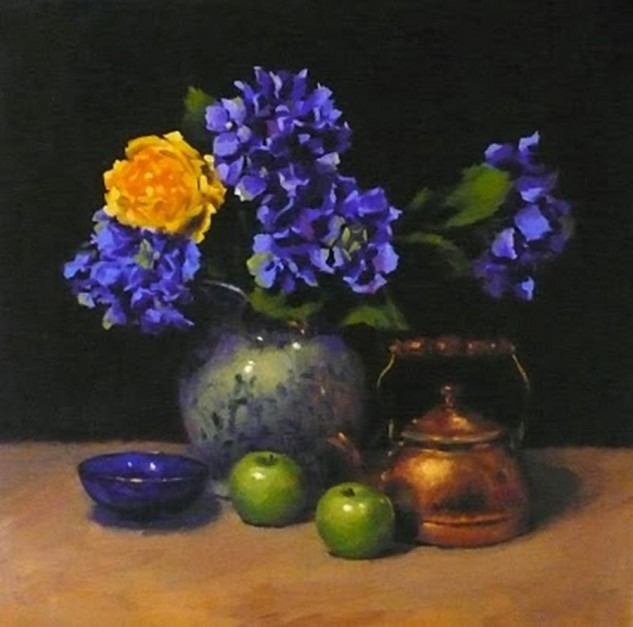 Looking for artwork online in Australia? View Blue Hydrangeas and Copper Kettle - Still Life original artwork by Lucille Tam