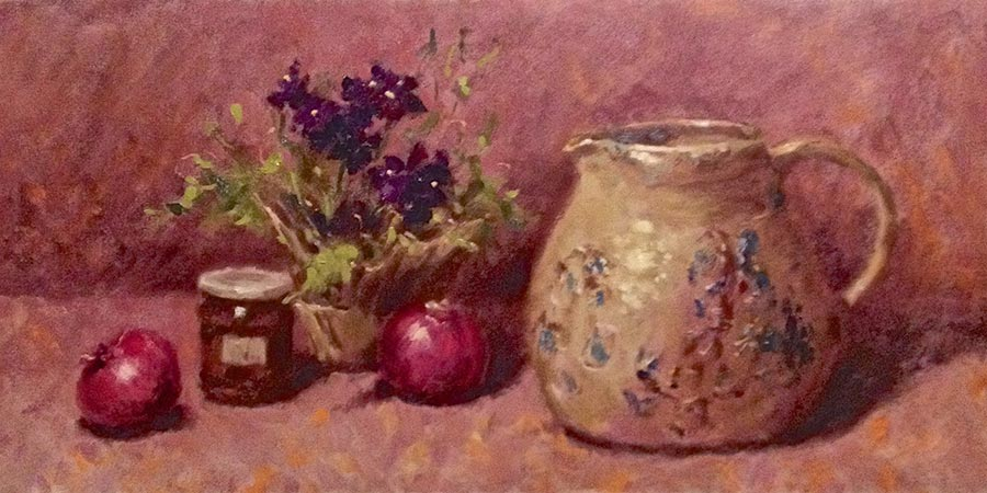 Ceramic Pitcher with Red Onions - Still Life painting by Lucille Tam