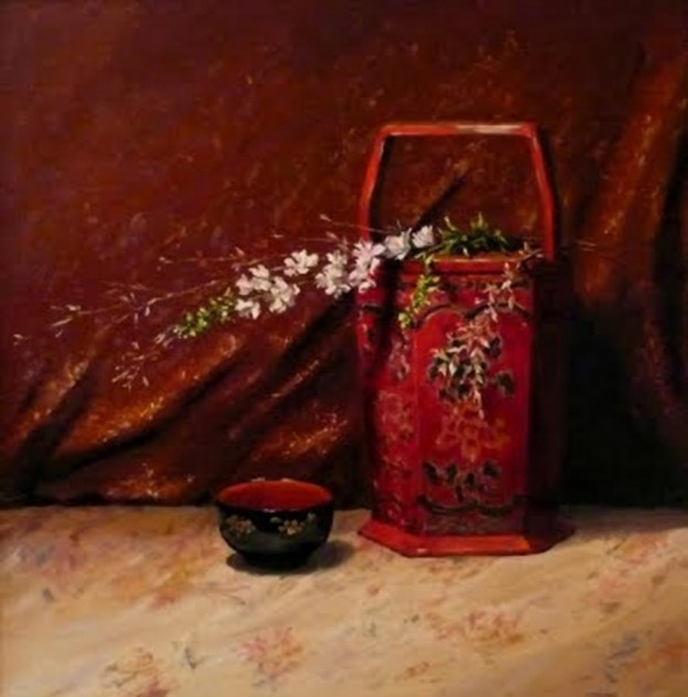 Looking for artwork online in Australia? View Chinese Red Bucket and Lacquer Bowl - Still Life original artwork by Lucille Tam