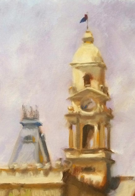 Looking for artwork online in Australia? View Clock Tower, South Melbourne Town Hall - Streetscape artwork by Lucille Tam