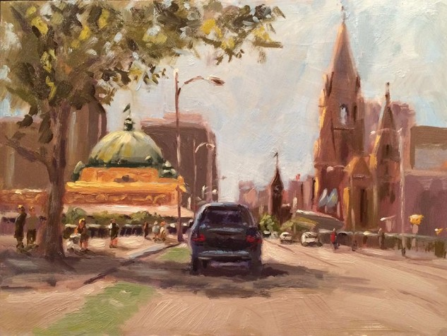Driving into the City, streetscape artwork by Lucille Tam