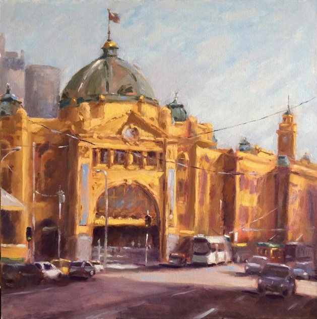 Flinders Street Station, an original artwork by artist Lucille Tam