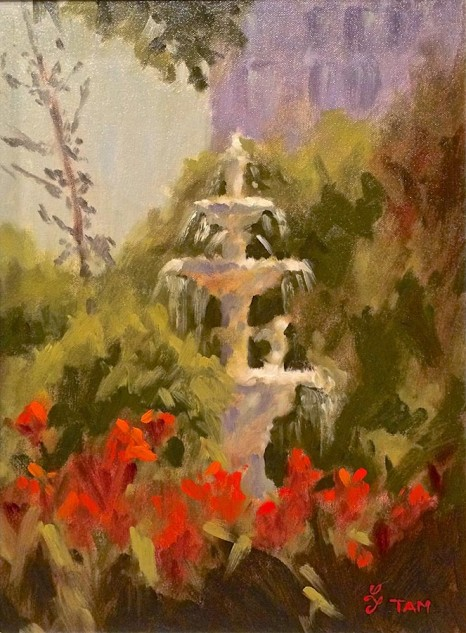 Looking for artwork online in Australia? View Fountain in Carlton Gardens - Streetscape artwork by Lucille Tam