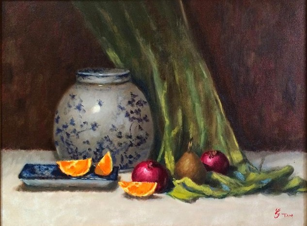 Looking for artwork online in Australia? View Ginger Jar and Orange Segments - Still Life artwork by Lucille Tam