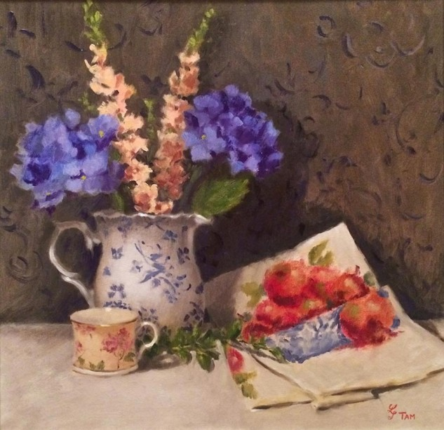 Looking for artwork online in Australia? View Hydrangeas and Linen Tea Towel - Still Life artwork by Lucille Tam