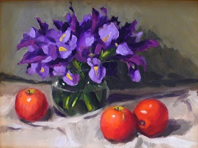 Looking for artwork online in Australia? View Irises and Red Apples - Still Life original artwork by Lucille Tam