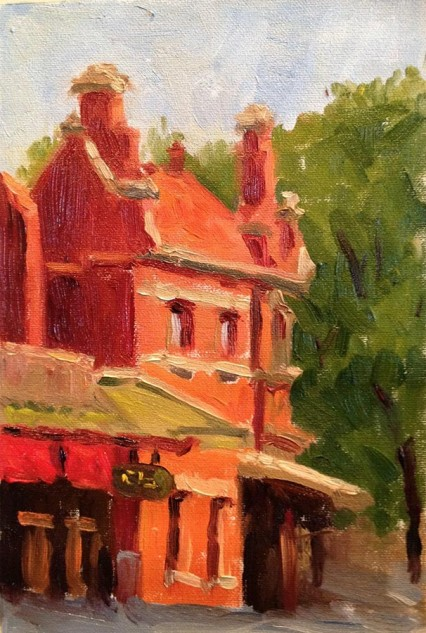 Looking for artwork online in Australia? View Lemongrass Thai Restaurant, Carlton - Streetscape original artwork by Lucille Tam