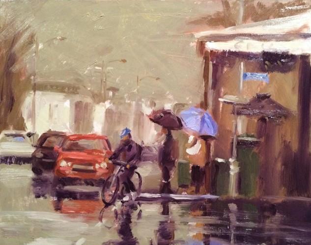 Lilac Blue Umbrella, streetscape artwork by Lucille Tam