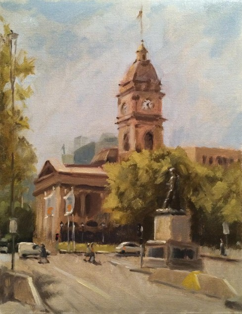 Melbourne Town Hall, streetscape painting by artist Lucille Tam