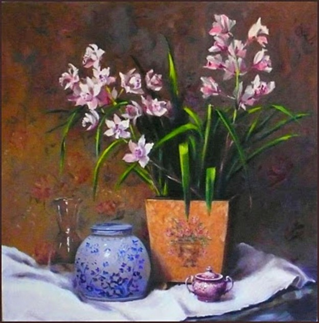 Looking for artwork online in Australia? View Orchids - Still Life original artwork by Lucille Tam