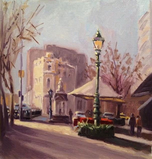 Paris End of Elizabeth Street, Melbourne, streetscape artwork by Lucille Tam