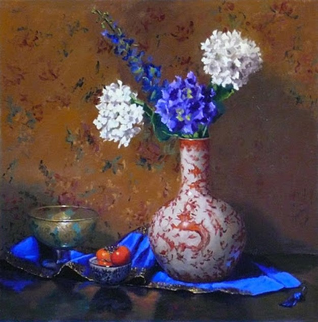 Looking for artwork online in Australia? View Persimmons, Silk and Hydrangeas - Still Life original artwork by Lucille Tam