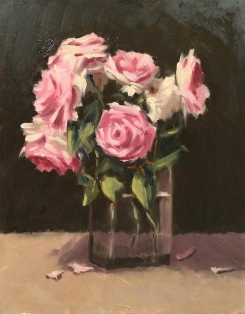 Pieree-de-Ronsard Roses, still life painting by artist Lucille Tam