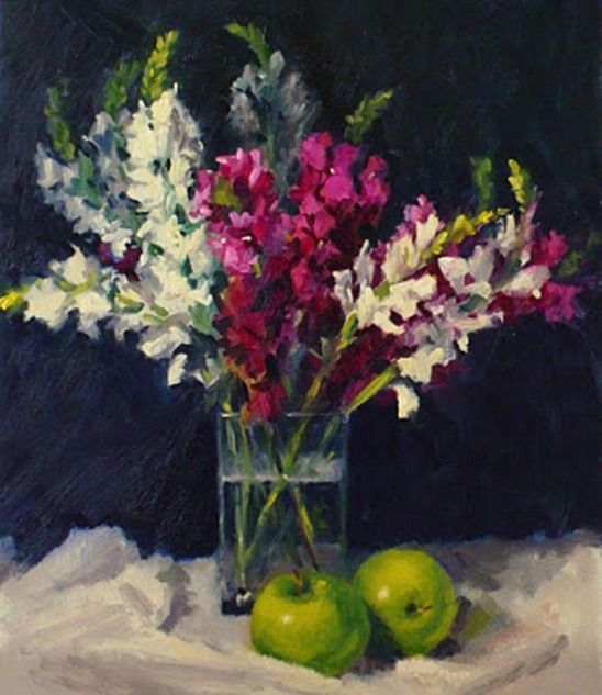 Looking for artwork online in Australia? View Pink and White Snapdragons - Still Life original artwork by Lucille Tam