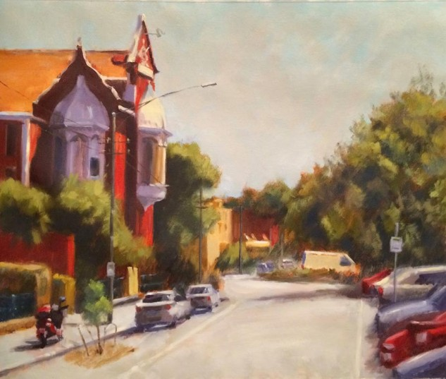 Looking for artwork online in Australia? View Princess May Building, Carlton - Streetscape original artwork by Lucille Tam