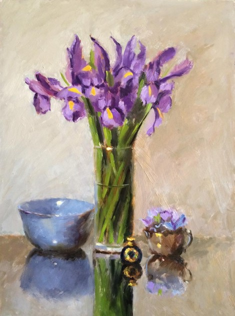 Purple Irises and Blue Bowl, an original artwork by artist Lucille Tam