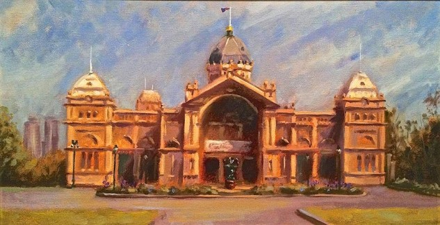 Looking for artwork online in Australia? View Royal Exhibition Building, Carlton - Streetscape artwork by Lucille Tam