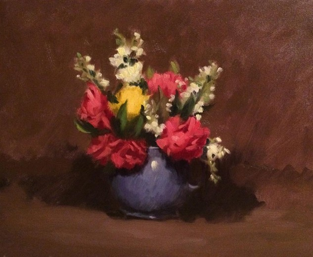 Stock and Roses in Blue Jug, still life painting by artist Lucille Tam
