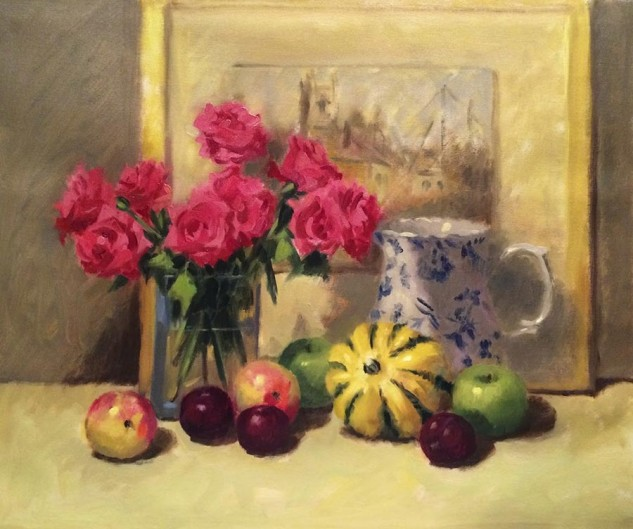 Looking for artwork online in Australia? View Sweet Dumpling Pumpkin and Roses - Still Life artwork by Lucille Tam