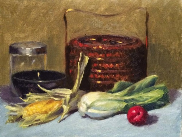 Looking for artwork online in Australia? View Sweetcorn and Bak Choy - Still Life artwork by Lucille Tam