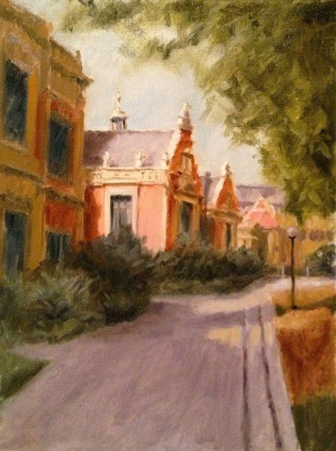 Looking for artwork online in Australia? View The 1888 Building, University of Melbourne - Streetscape original artwork by Lucille Tam