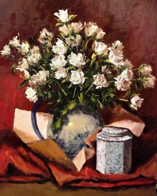 Looking for artwork online in Australia? View Three Dozen White Roses - Still Life artwork by Lucille Tam
