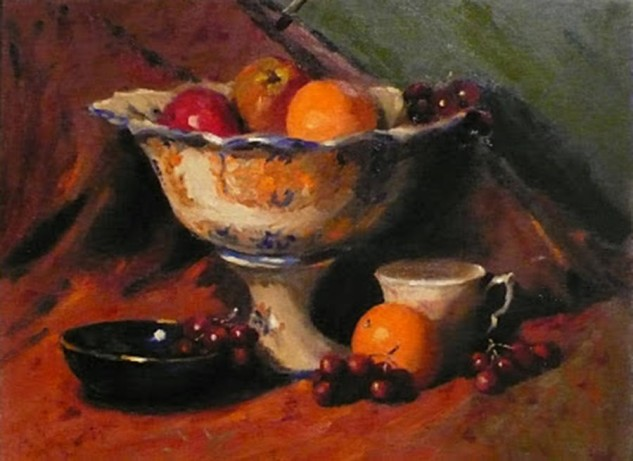 Looking for artwork online in Australia? View Tuscan Bowl and Fruits, a still Life original artwork by Lucille Tam