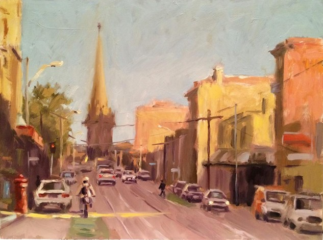 View of St Patrick's Cathedral from Brunswick Street, streetscape artwork by Lucille Tam