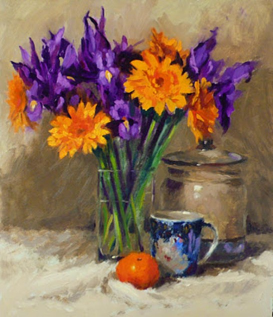 Looking for artwork online in Australia? See Violet and Gold, a still Life original artwork by Lucille Tam