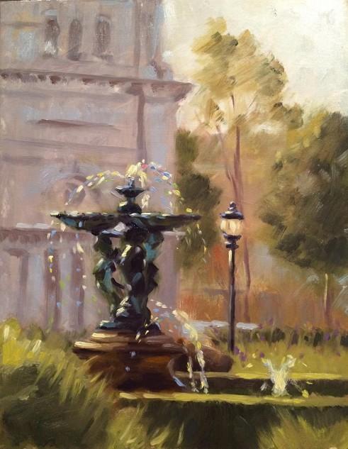 Bronze Fountain, Carlton Gardens, streetscape artwork by Lucille Tam