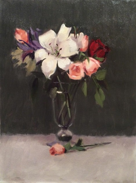Flower Study with Lily & Roses, still life artwork by Lucille Tam