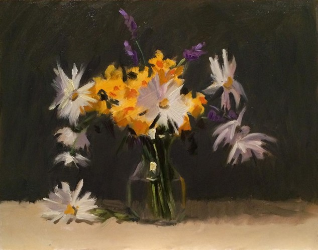 Jonquils and Daises, still life artwork by Lucille Tam